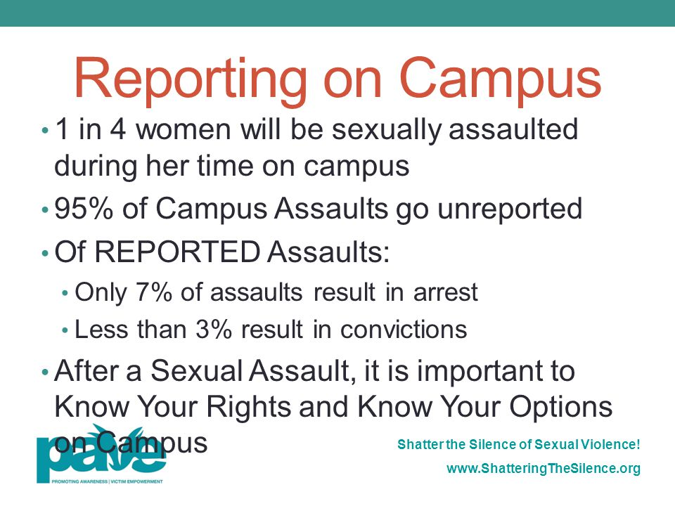 Reporting on Campus 1 in 4 women will be sexually assaulted during her time on campus. 95% of Campus Assaults go unreported.