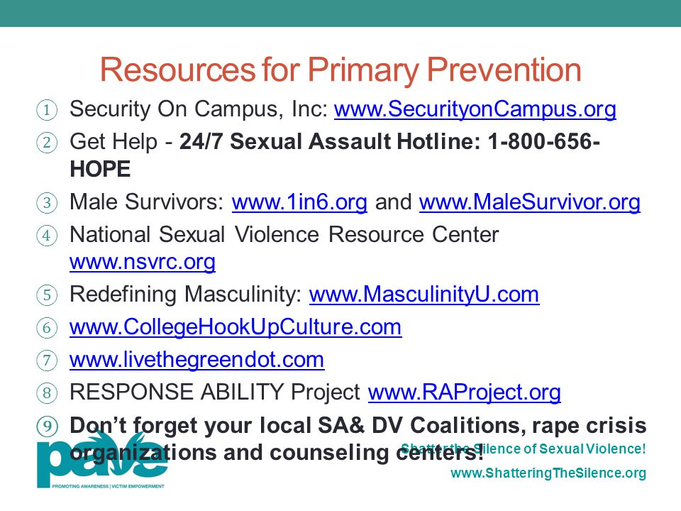 Resources for Primary Prevention