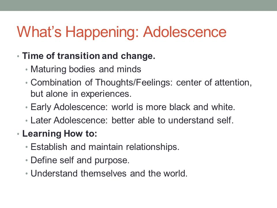 What's Happening: Adolescence