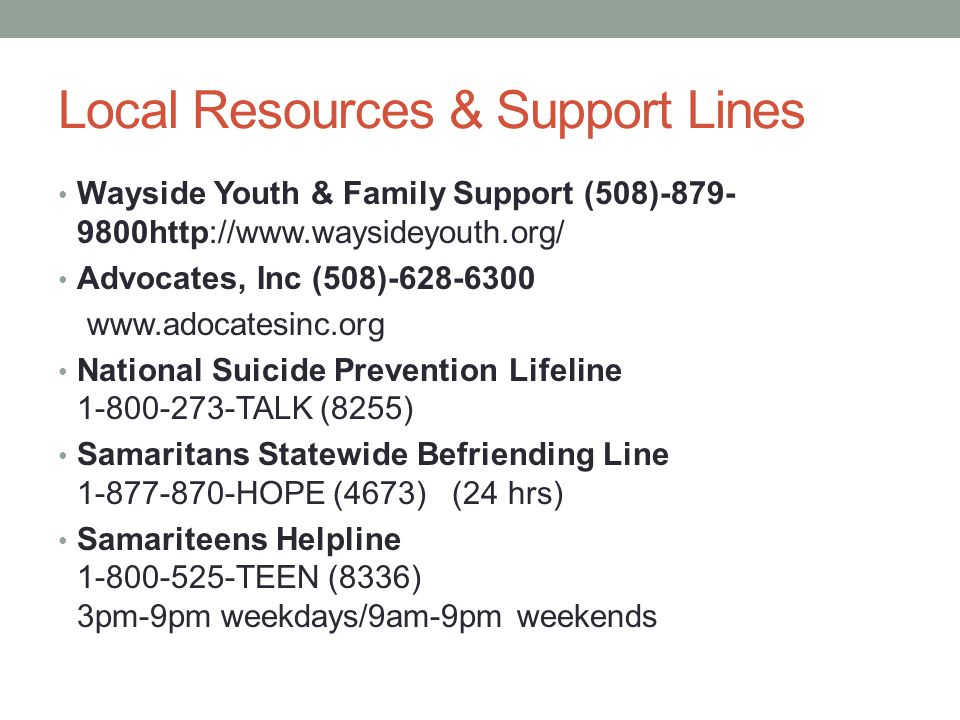 Local Resources & Support Lines
