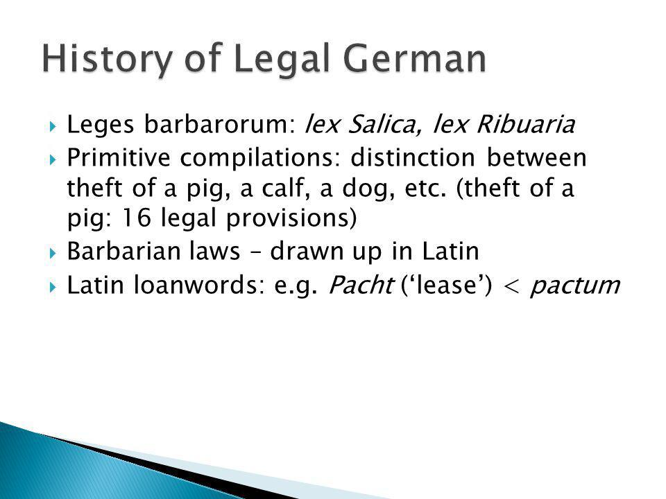 History of Legal German