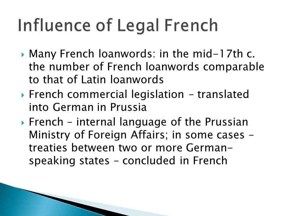 Influence of Legal French