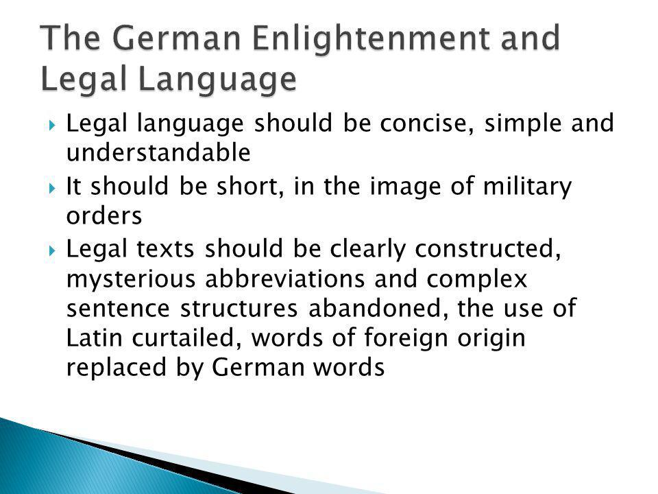 The German Enlightenment and Legal Language