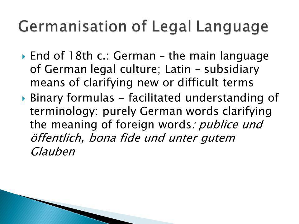 Germanisation of Legal Language