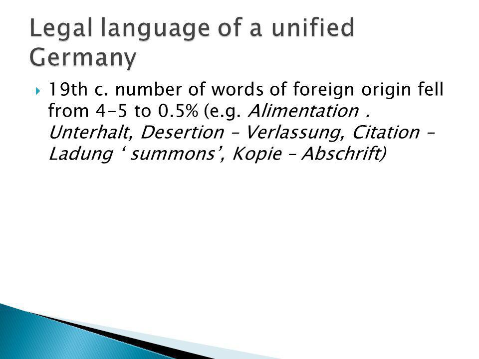Legal language of a unified Germany