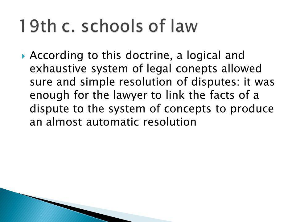 19th c. schools of law