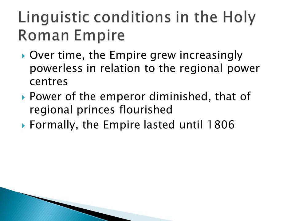 Linguistic conditions in the Holy Roman Empire