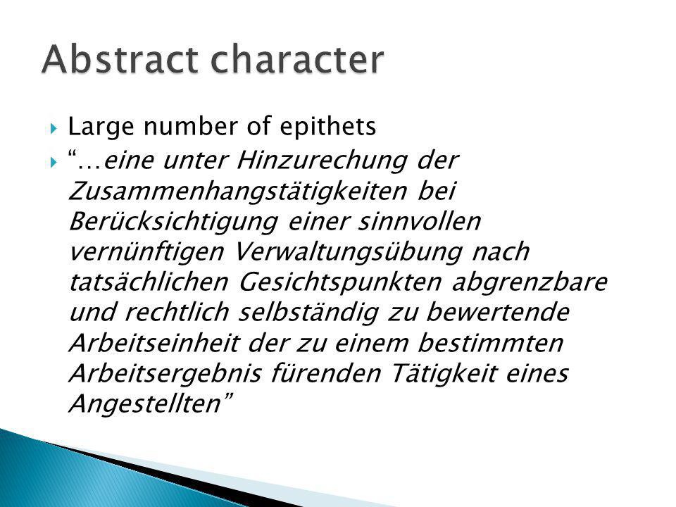 Abstract character Large number of epithets