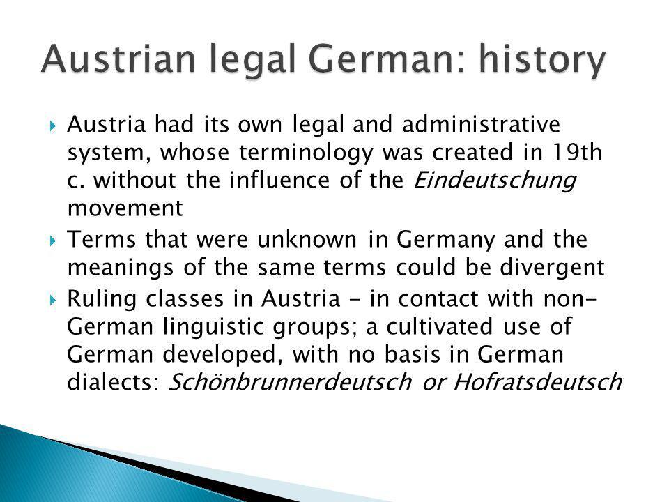 Austrian legal German: history