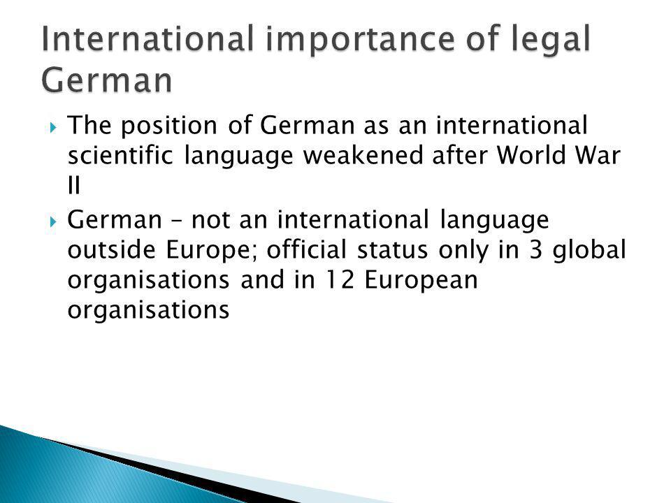 International importance of legal German
