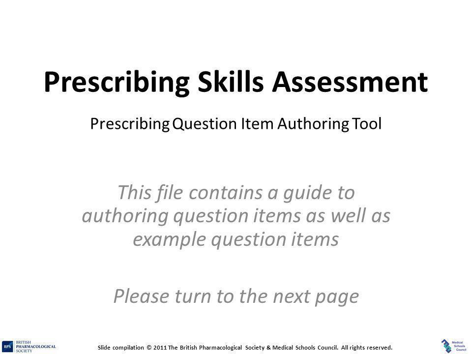 Prescribing Skills Assessment Prescribing Question Item Authoring Tool