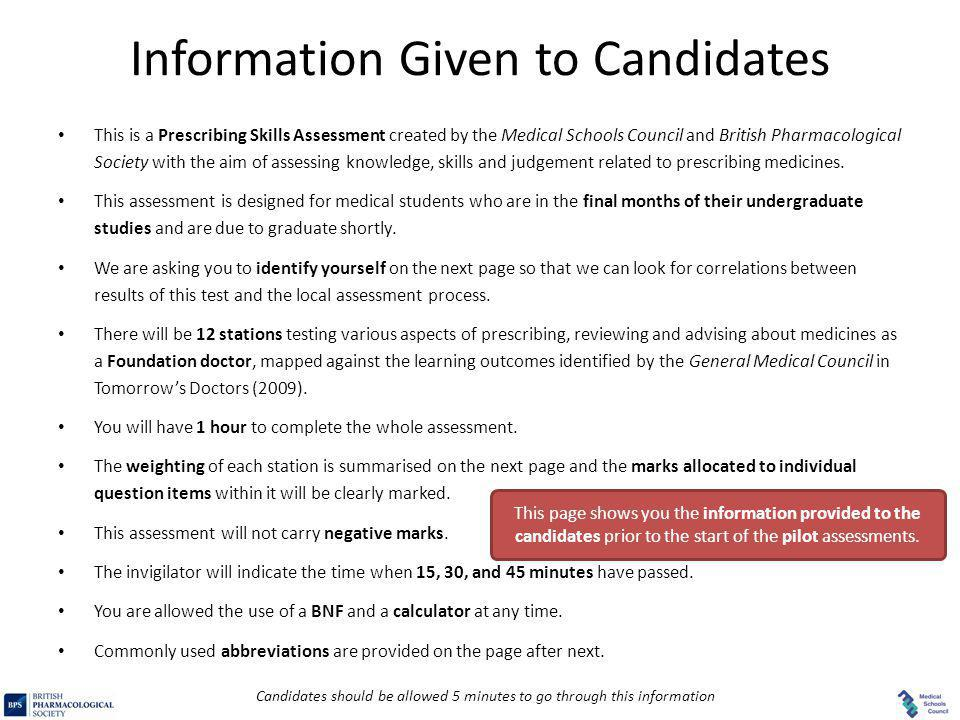 Information Given to Candidates