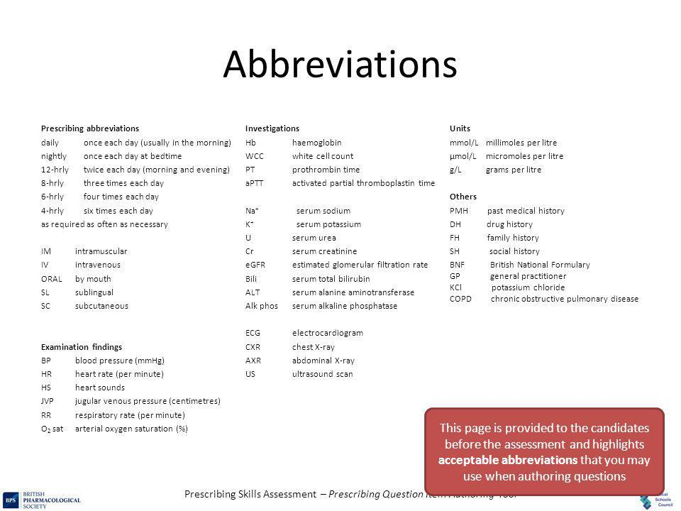 Abbreviations Prescribing abbreviations. daily once each day (usually in the morning) nightly once each day at bedtime.