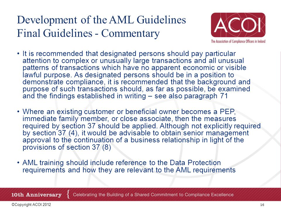 Development of the AML Guidelines Final Guidelines - Commentary