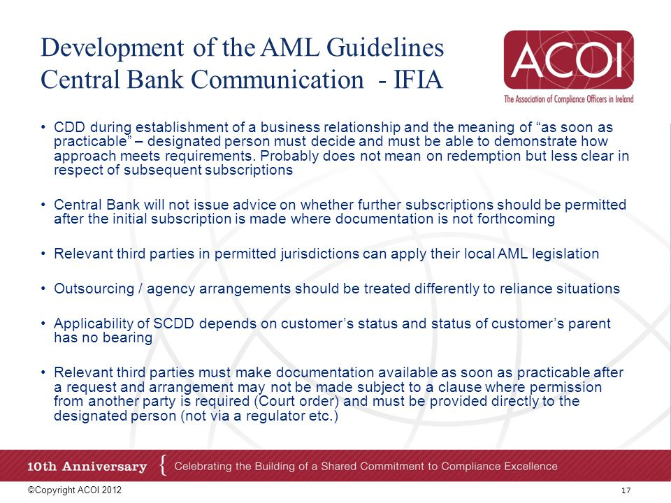 Development of the AML Guidelines Central Bank Communication - IFIA