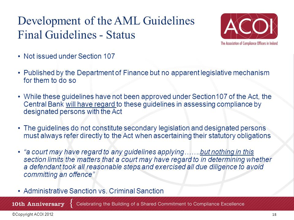 Development of the AML Guidelines Final Guidelines - Status