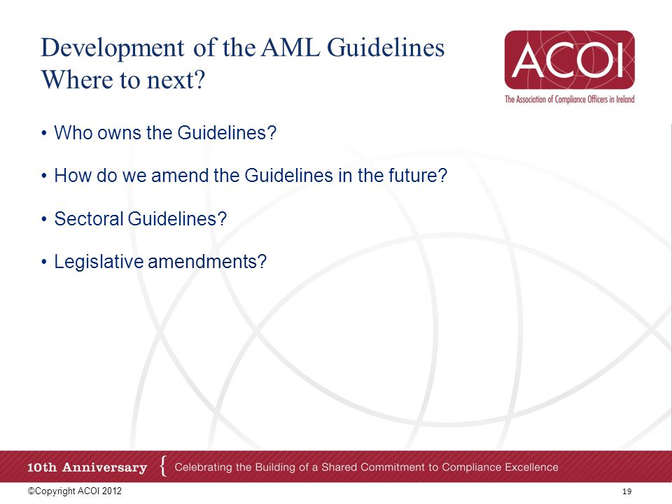 Development of the AML Guidelines Where to next