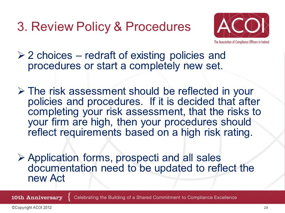 3. Review Policy & Procedures