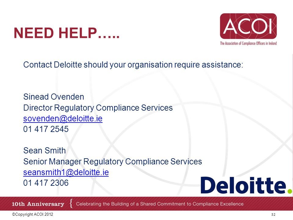 Need help….. Contact Deloitte should your organisation require assistance: Sinead Ovenden. Director Regulatory Compliance Services.