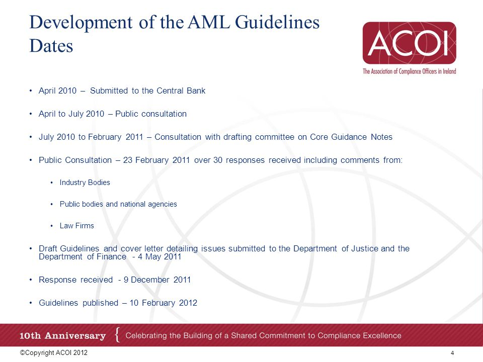 Development of the AML Guidelines Dates