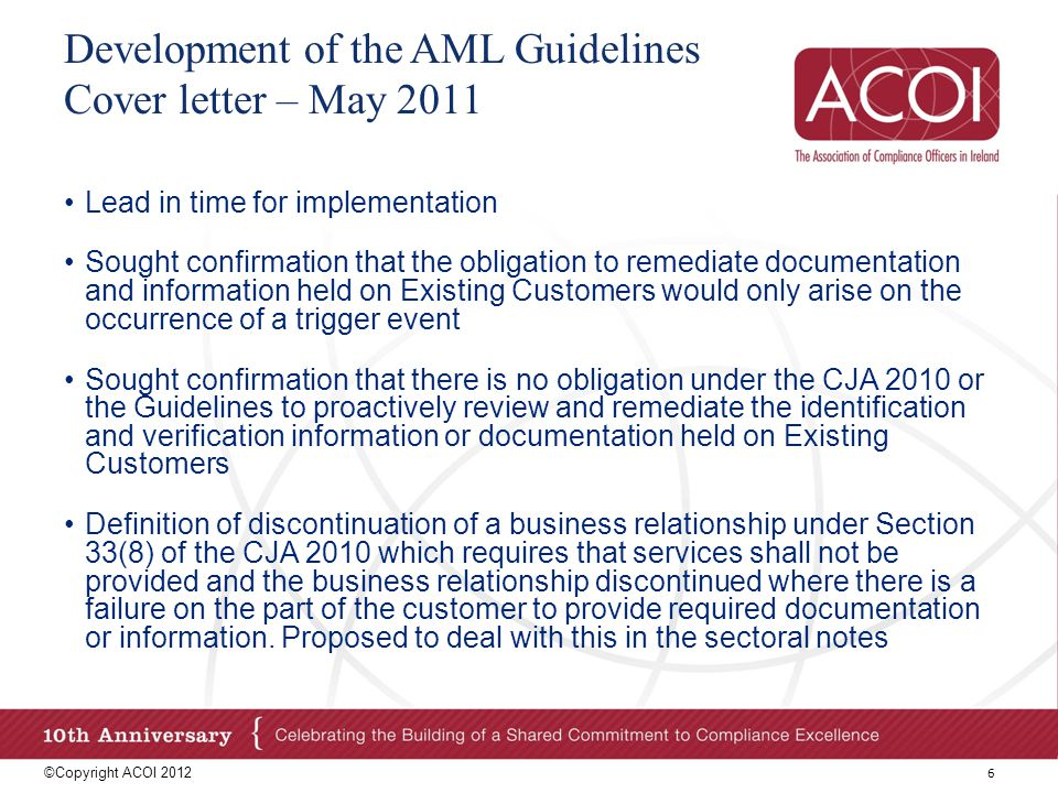 Development of the AML Guidelines Cover letter – May 2011