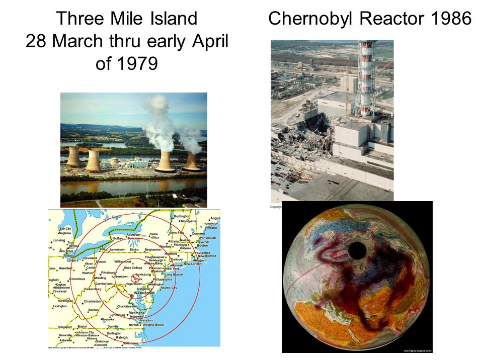 Three Mile Island 28 March thru early April of 1979 Chernobyl Reactor 1986