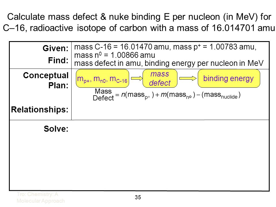 Calculate mass defect & nuke binding E per nucleon (in MeV) for C–16, radioactive isotope of carbon with a mass of 16.014701 amu