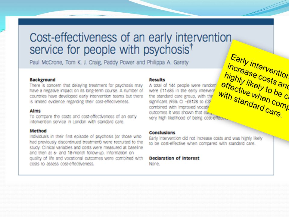 Early intervention did not increase costs and was highly likely to be cost- effective when compared with standard care.
