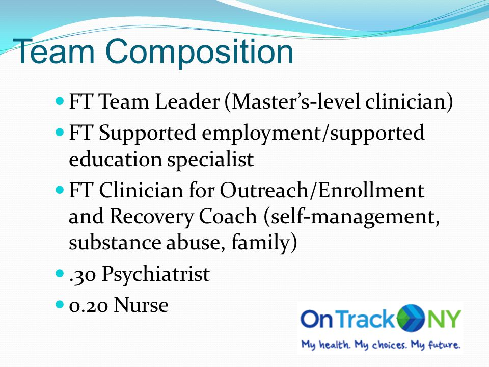 Team Composition FT Team Leader (Master's-level clinician)