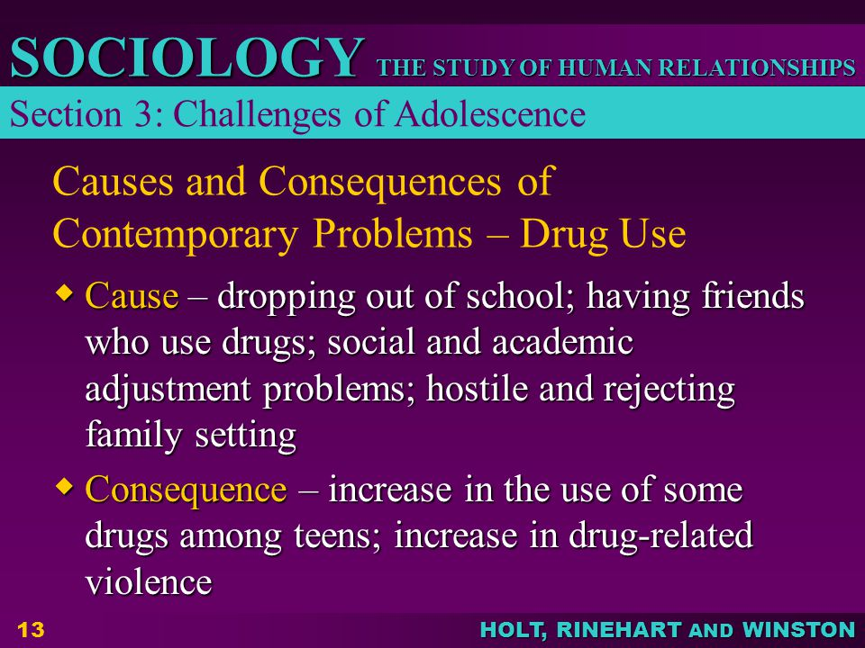 Causes and Consequences of Contemporary Problems – Drug Use