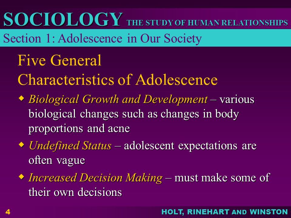 Five General Characteristics of Adolescence
