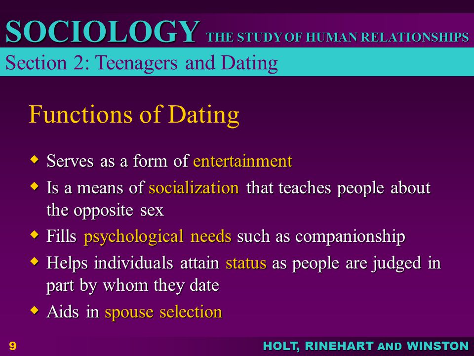 Functions of Dating Section 2: Teenagers and Dating