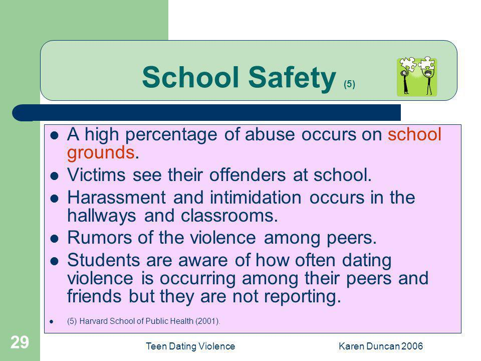 School Safety (5) A high percentage of abuse occurs on school grounds.