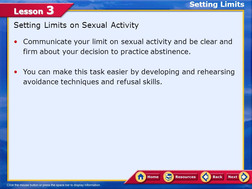 Setting Limits on Sexual Activity