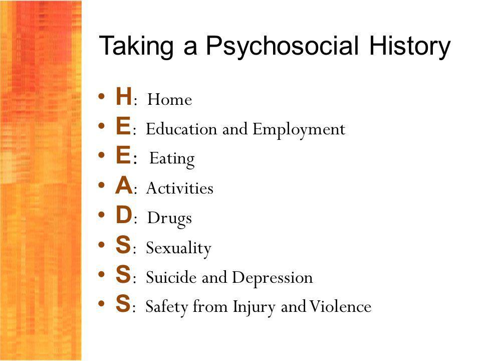 Taking a Psychosocial History