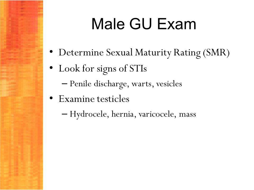 Male GU Exam Determine Sexual Maturity Rating (SMR)