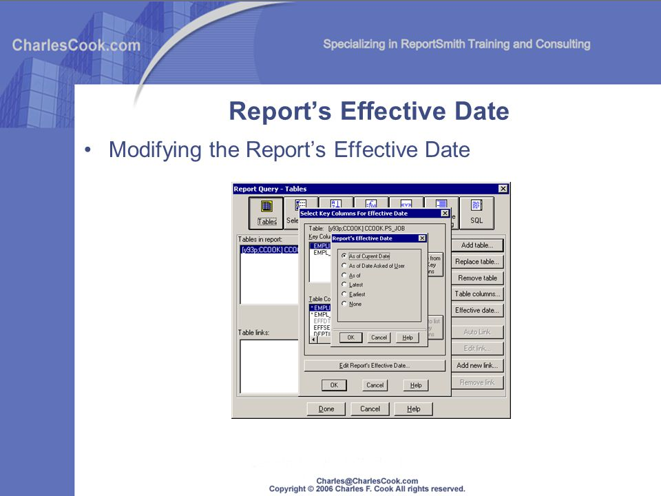 Report's Effective Date