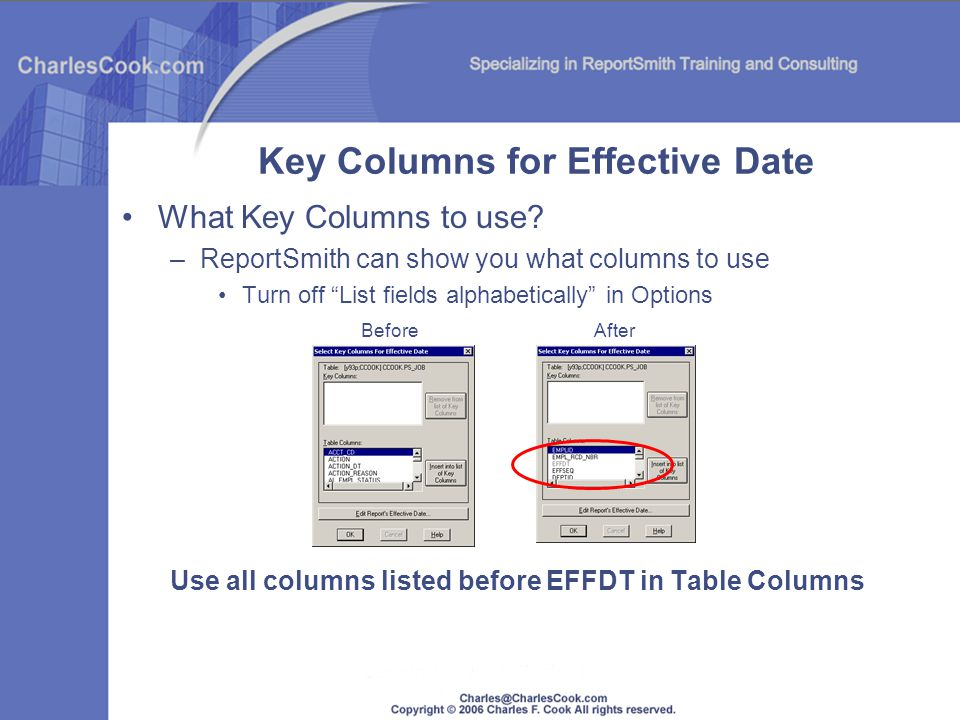 Key Columns for Effective Date