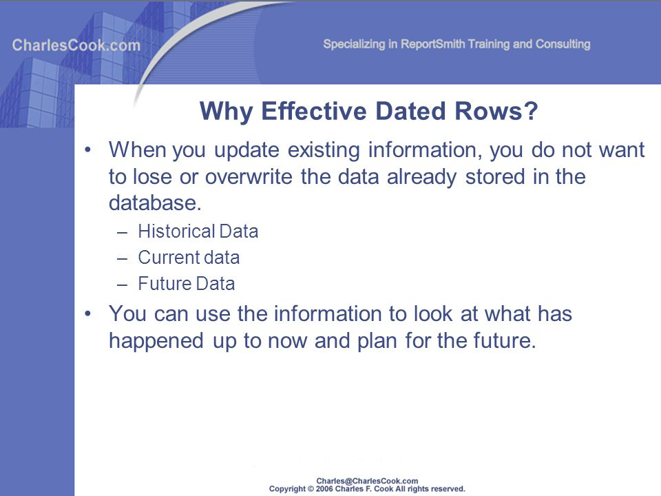 Why Effective Dated Rows
