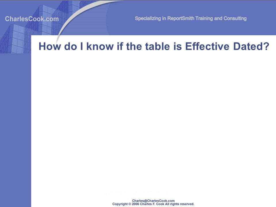 How do I know if the table is Effective Dated