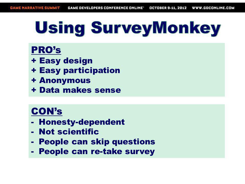 Using SurveyMonkey PRO's CON's + Easy design + Easy participation