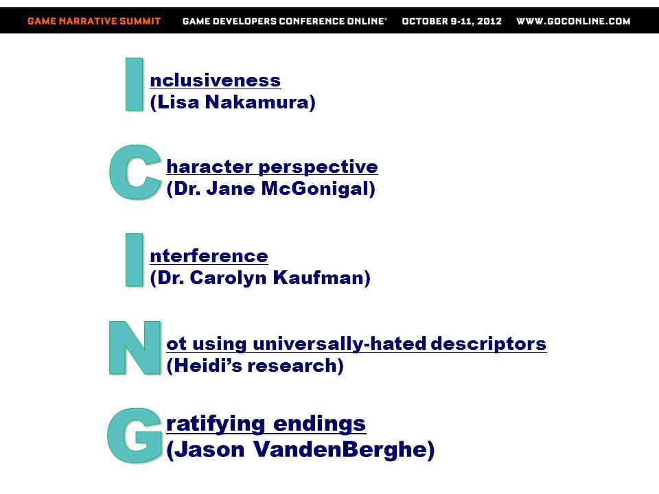 I C N G ratifying endings (Jason VandenBerghe) nclusiveness