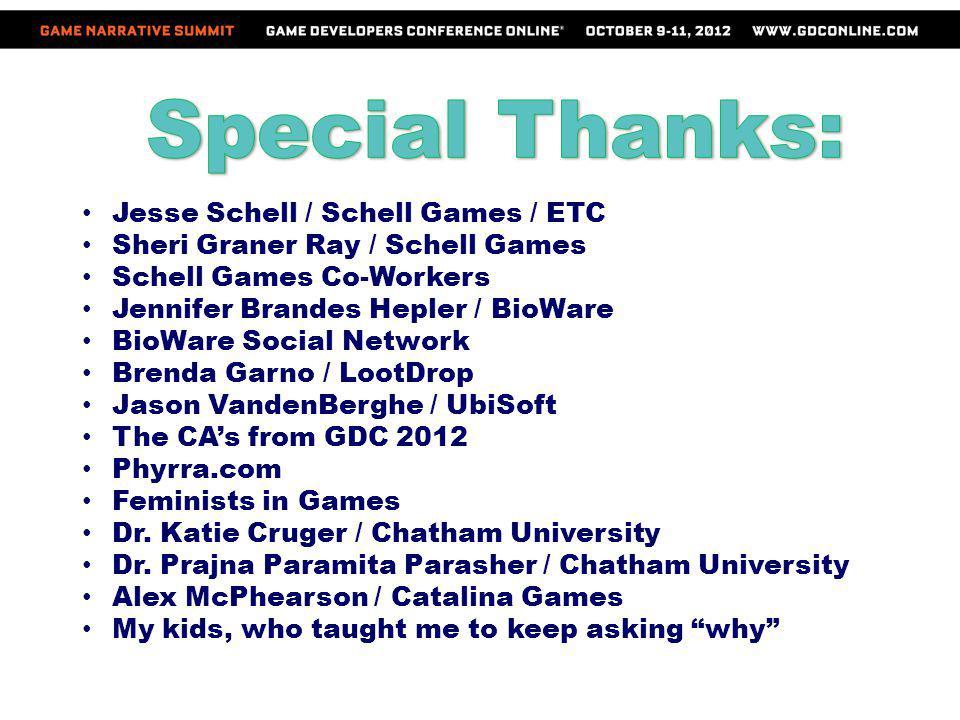 Special Thanks: Jesse Schell / Schell Games / ETC