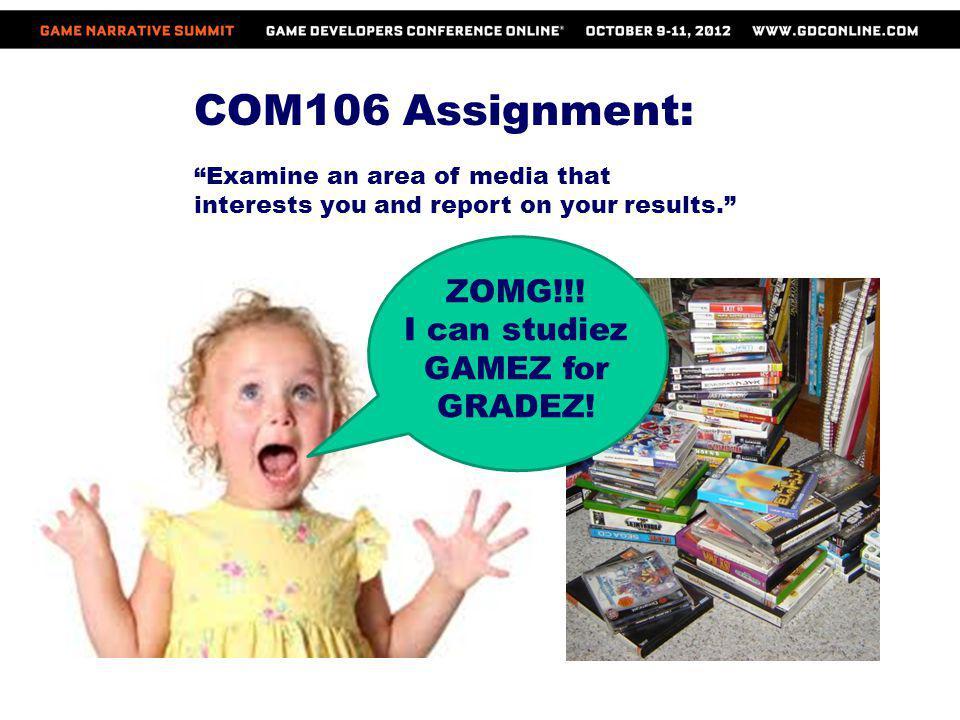 COM106 Assignment: ZOMG!!! I can studiez GAMEZ for GRADEZ!