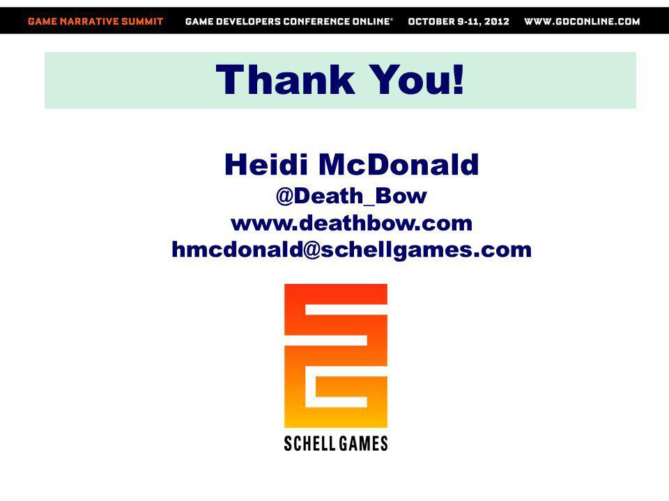 Thank You! Heidi McDonald @Death_Bow www.deathbow.com