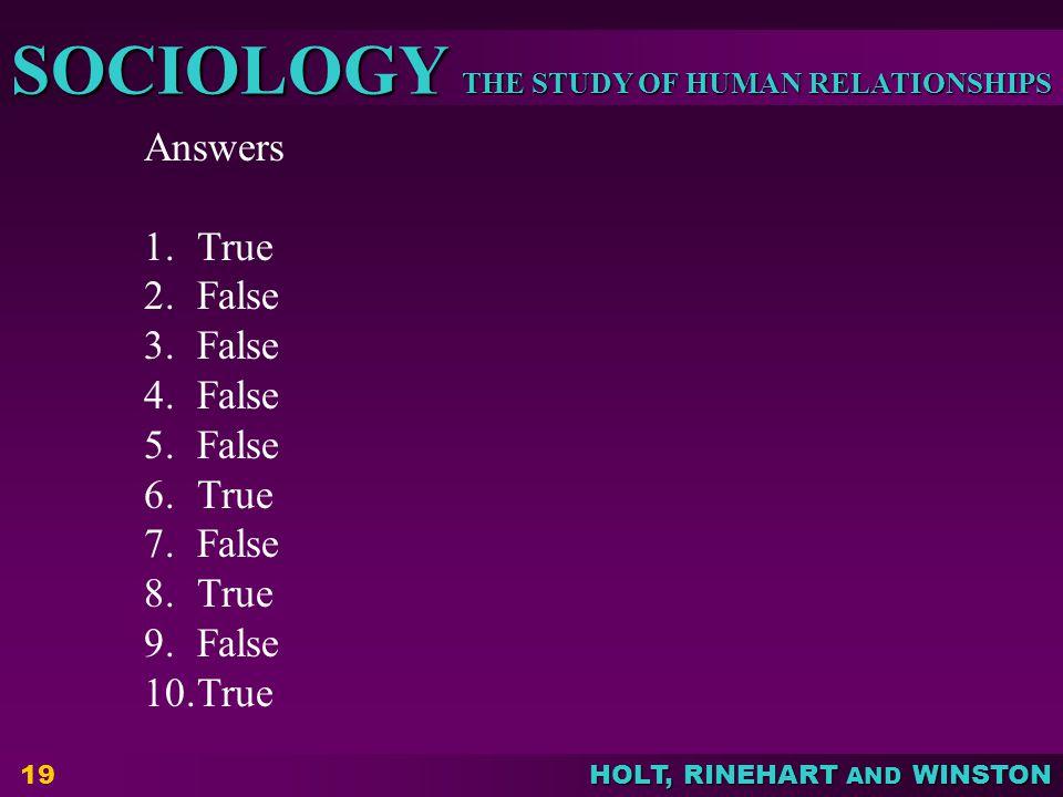 Answers True False