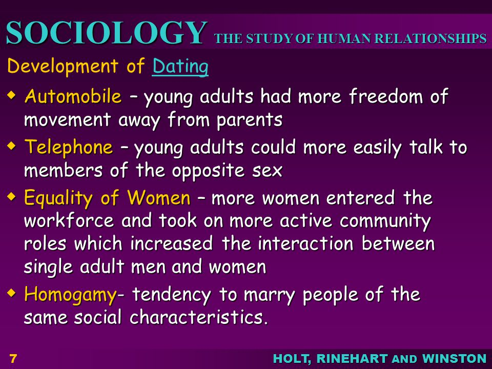 Development of Dating Automobile – young adults had more freedom of movement away from parents.
