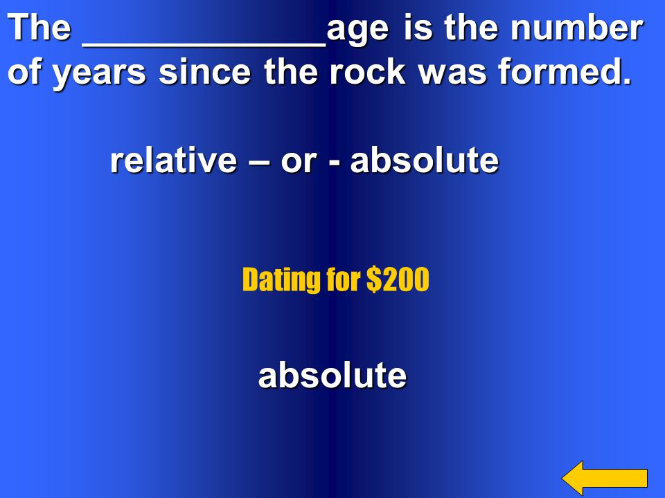 The ____________age is the number of years since the rock was formed.