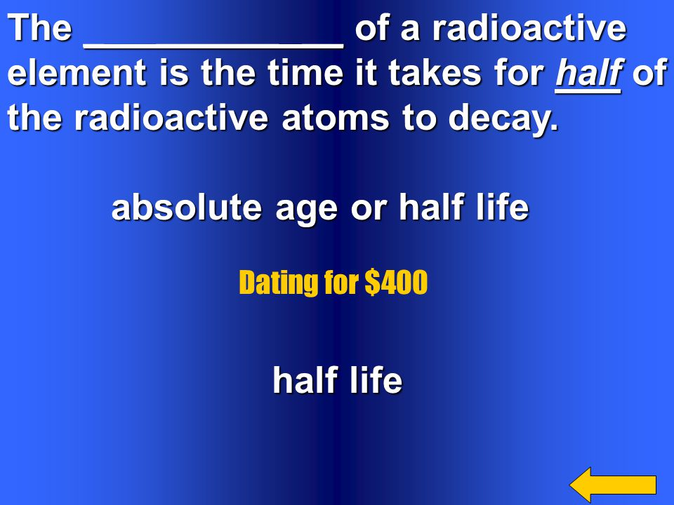 The _ ______ __ of a radioactive