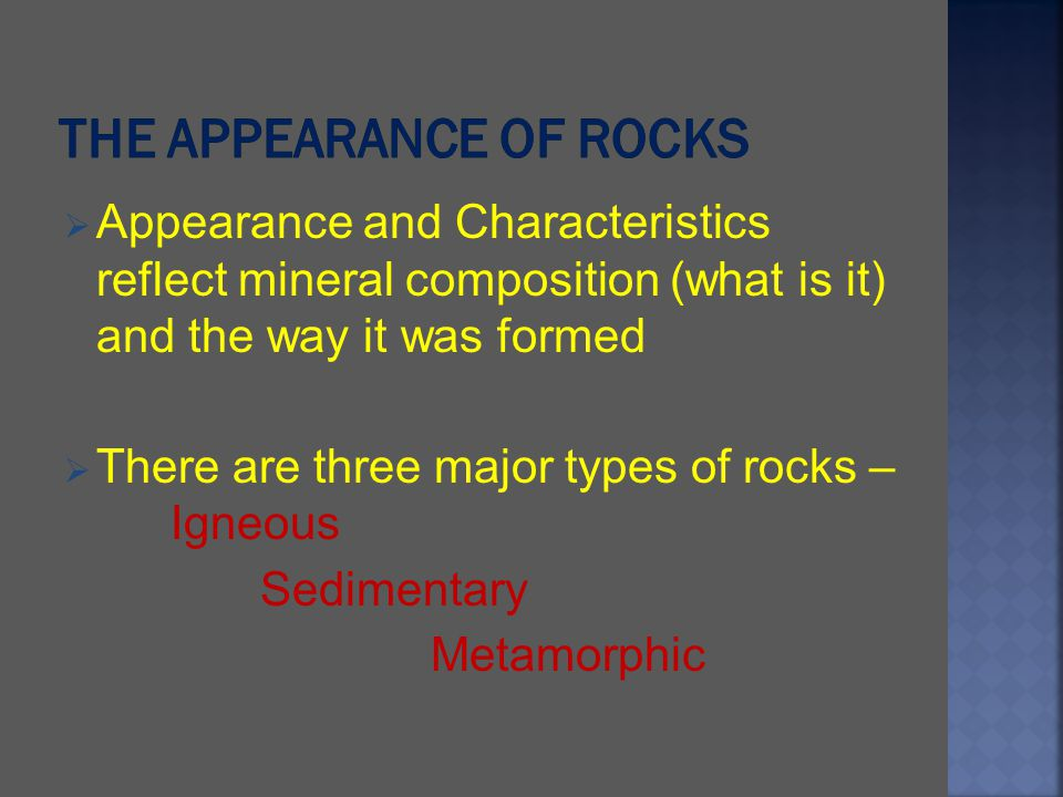The appearance of Rocks